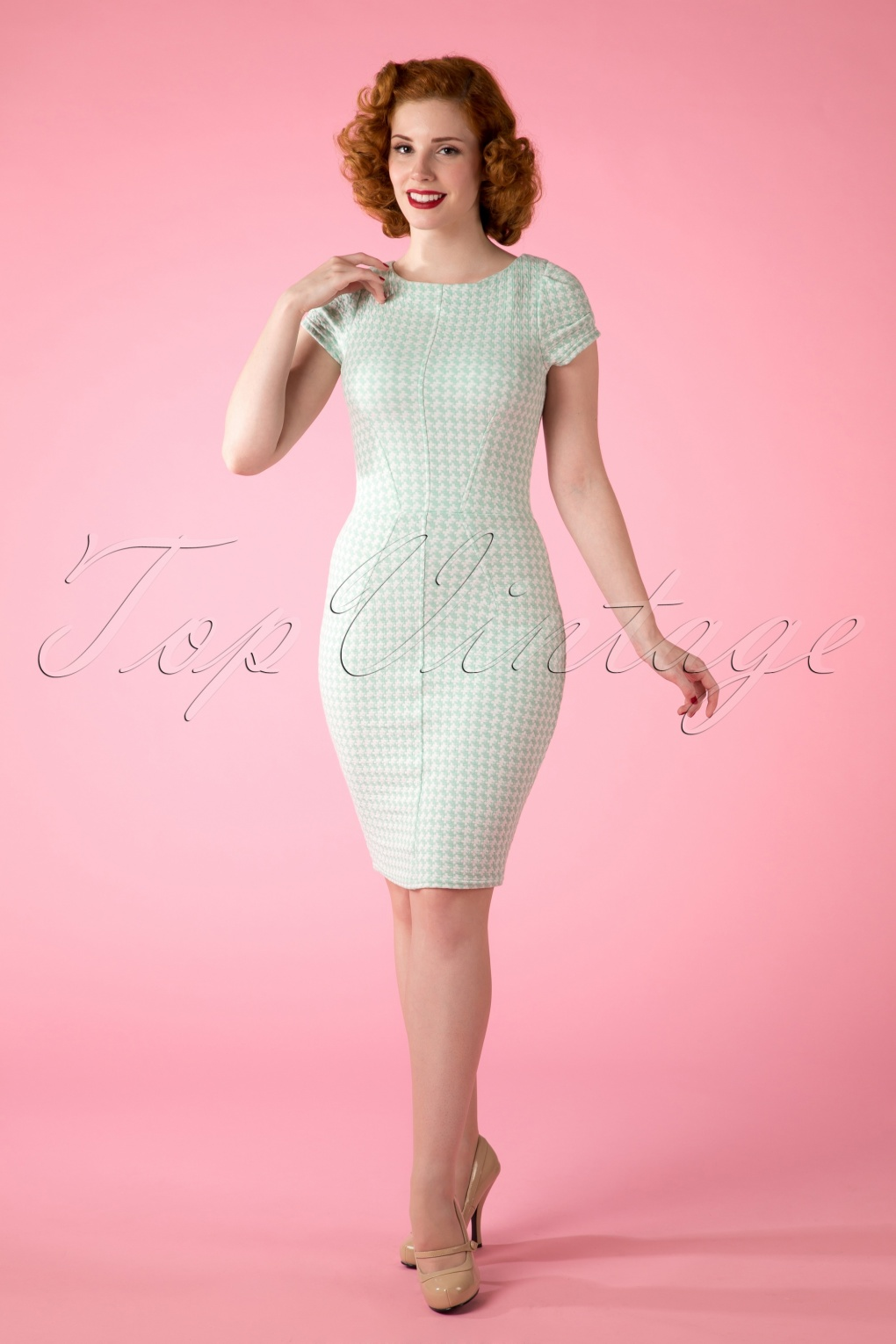 60s Knightsbridge Houndstooth Bodycon Dress In Mint And White