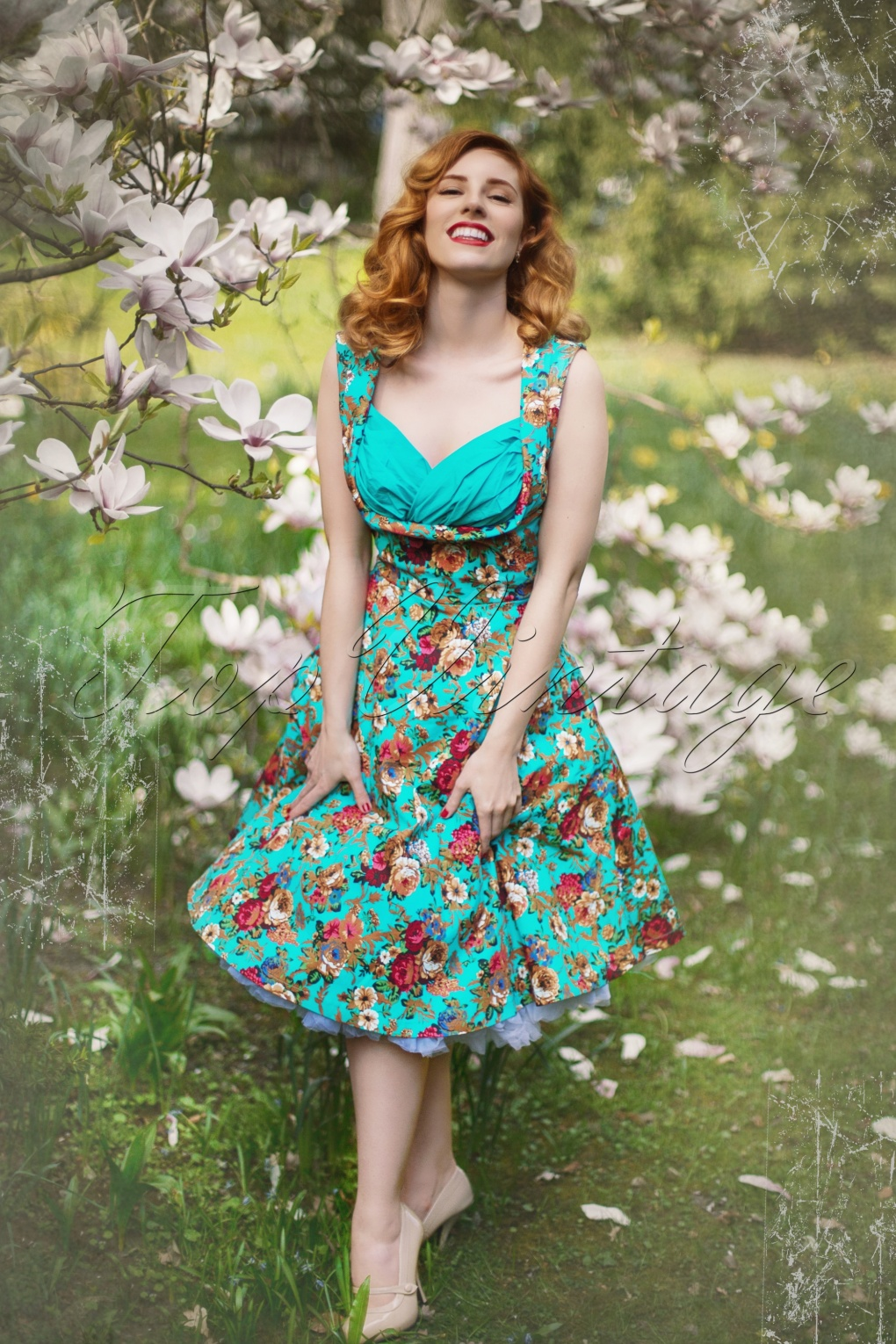 50s ophelia floral spring garden party dress