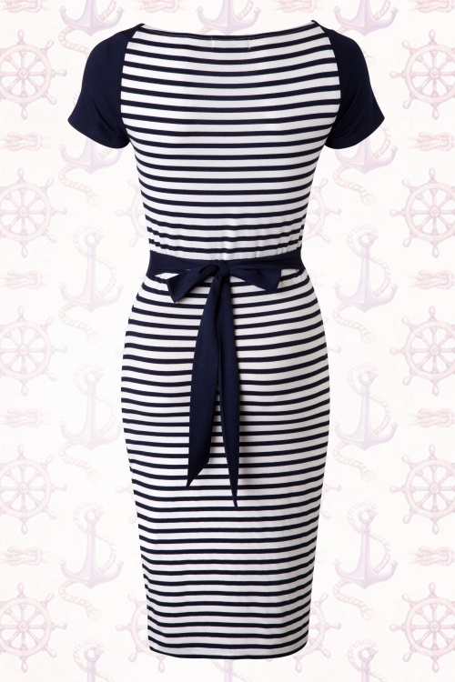 50s Akona Striped Pencil Dress In Navy And White