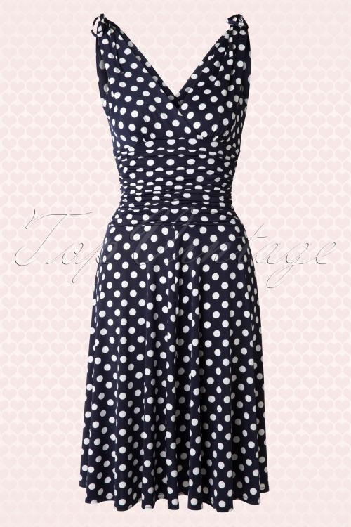 Vintage Chic 50s Grecian Navy White Polkadot Dress 102 39 15663 20150521 0004W