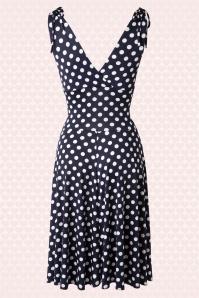 Vintage Chic 50s Grecian Navy White Polkadot Dress 102 39 15663 20150521 0002W