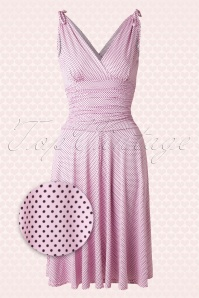 50s Grecian Pin Dots Dress in Light Pink