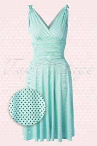 50s Grecian Pin Dots Dress in Light Blue