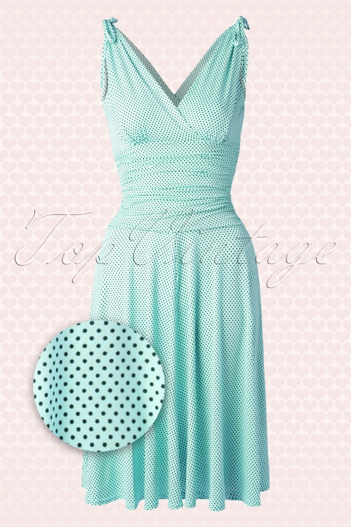 Vintage Chic 50s Grecian Mint Polkadot Dress 102 29 15666 20150521 0009aw