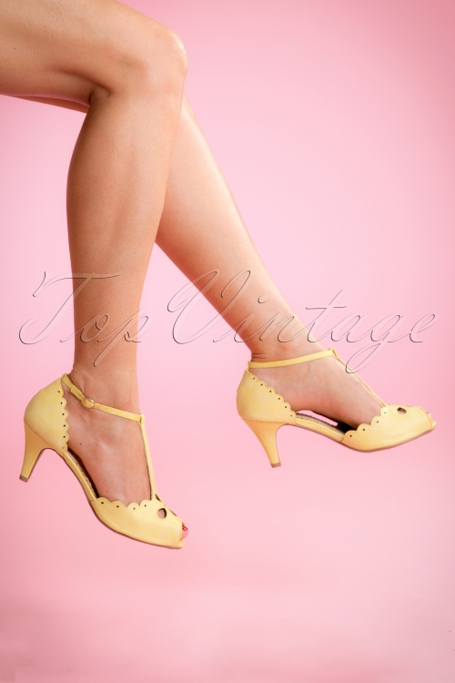 Bettie Page Claire Yellow Peep Toe Pump 401 80 14269 04132015 02W