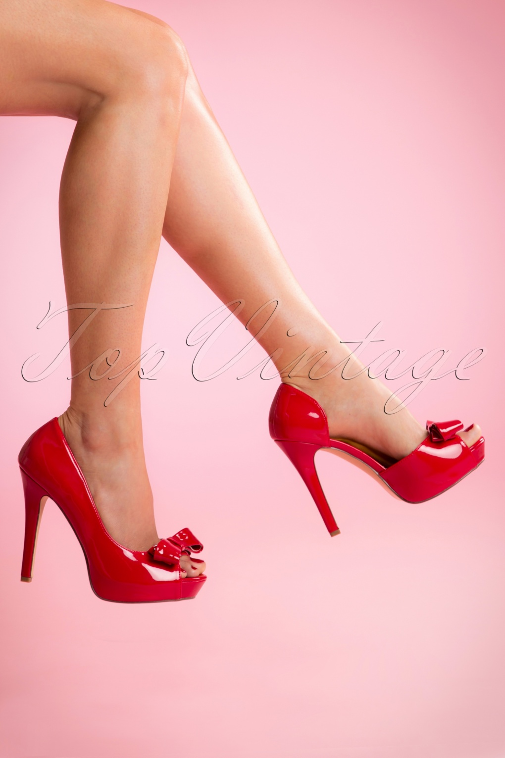 Pin Up Shoes- Heels & Flats 50s Lolita Lacquer Peeptoe DOrsay Pumps in Lipstick Red £63.65 AT vintagedancer.com