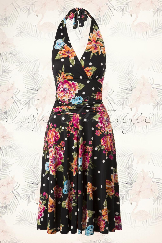 50s valencia flower polkadot halter dress in black - Vintage valencia ...