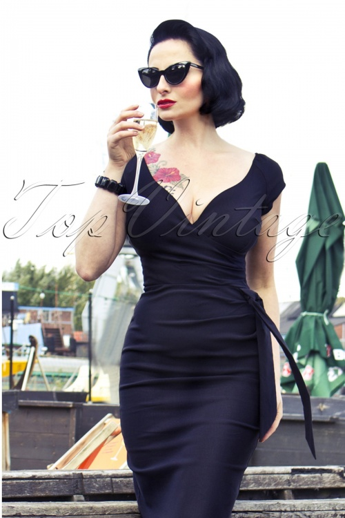 50s Hourglass Vintage Pencil Dress in Black