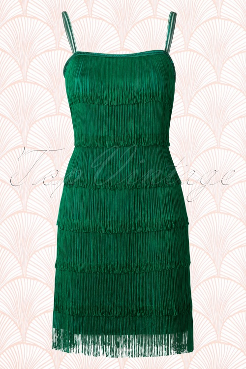 20s Vivienne Fringe Flapper Dress In Emerald Green