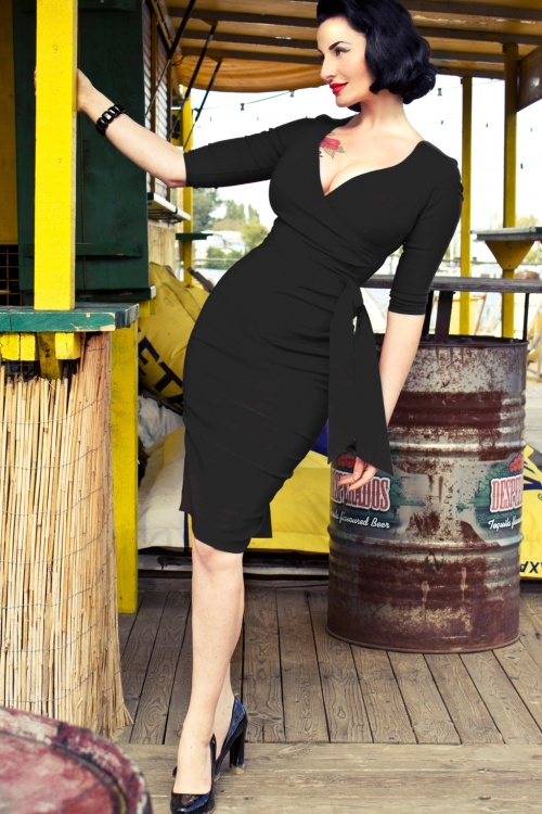 50s Hourglass Pencil Dress With 34 Sleeves In Black