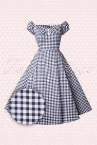 Collectif Clothing Dolores Swing Dress Navy Blue Gingham 14756 20141213 0013W2