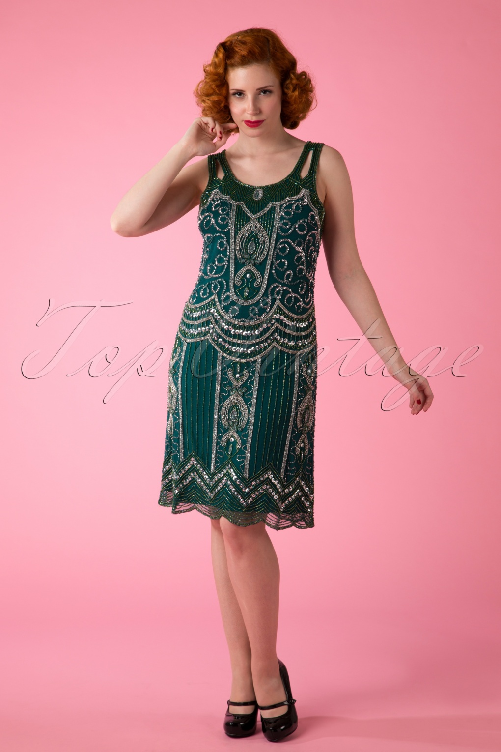 1920s Cocktail Party Dresses, Evening Gowns 20s Ziegfeld Flapper Dress in Emerald Green £169.62 AT vintagedancer.com