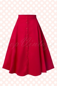Collectif Clothing Nani Plain Swing Skirt Red 14798 20141214 0011