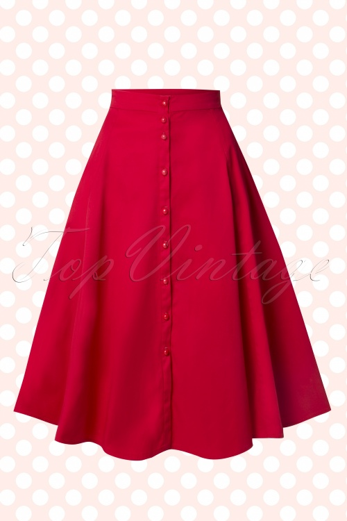 Collectif Clothing Nani Plain Swing Skirt Red 14798 20141214 0011