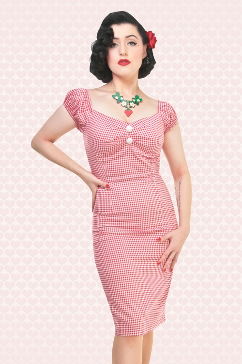 50s Dolores Picnic Gingham Dress in Red and White