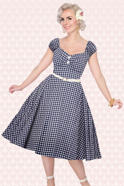 50s Dolores Doll Gingham Dress in Navy and White