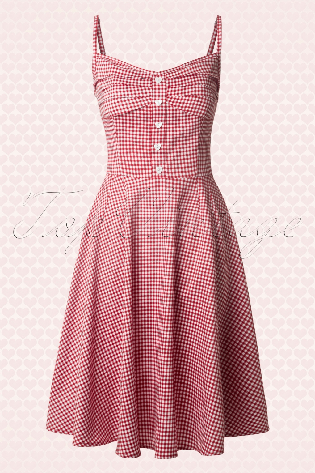 50s Fairy Picnic Gingham Doll Dress In Red And White