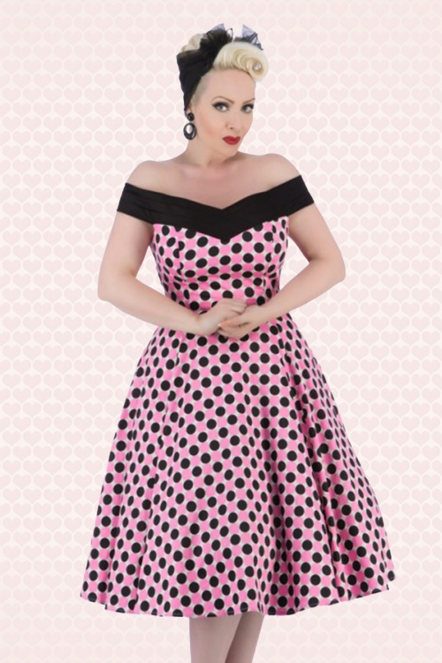 50s patty polkadot swing dress in pink and black. Black Bedroom Furniture Sets. Home Design Ideas