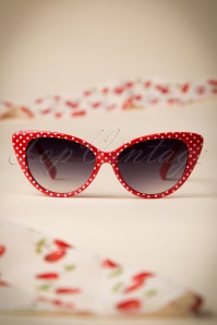 50s Lucy White Polkadot Sunglasses in Red