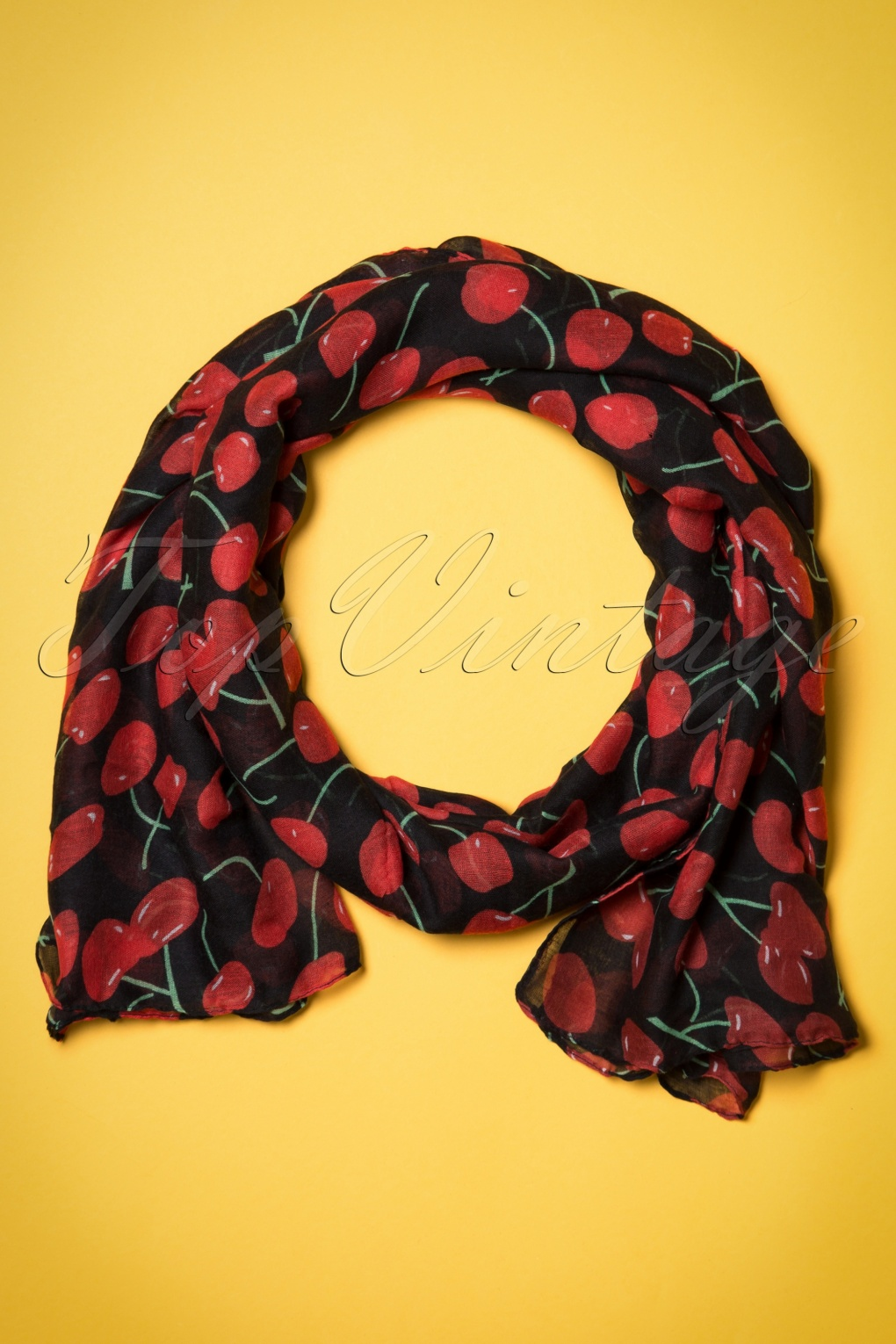 Vintage Scarves- New in the 1920s to 1960s Styles 60s So Very Cherry Scarf £8.45 AT vintagedancer.com