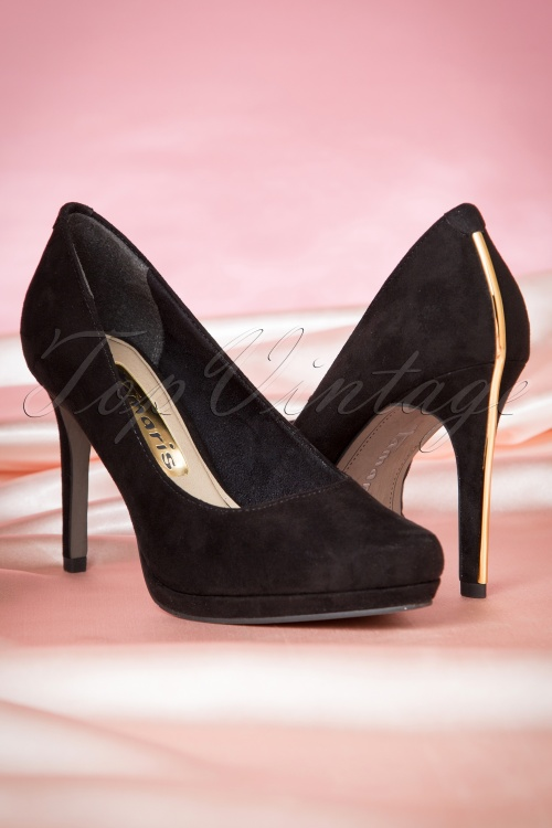 50s classy suedine black pumps with gold lining. Black Bedroom Furniture Sets. Home Design Ideas