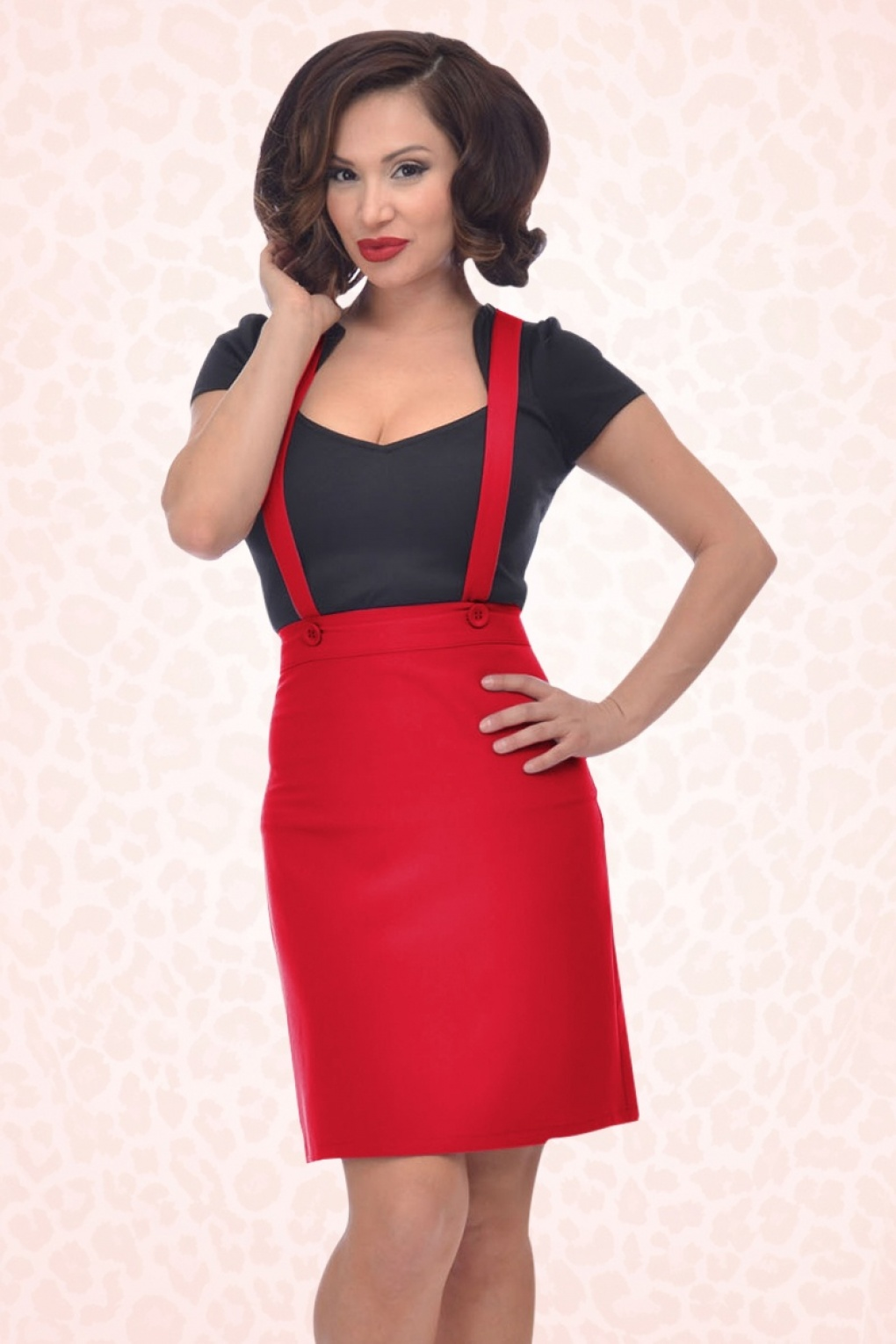 topvintage exclusive 50s adele jumper skirt in red