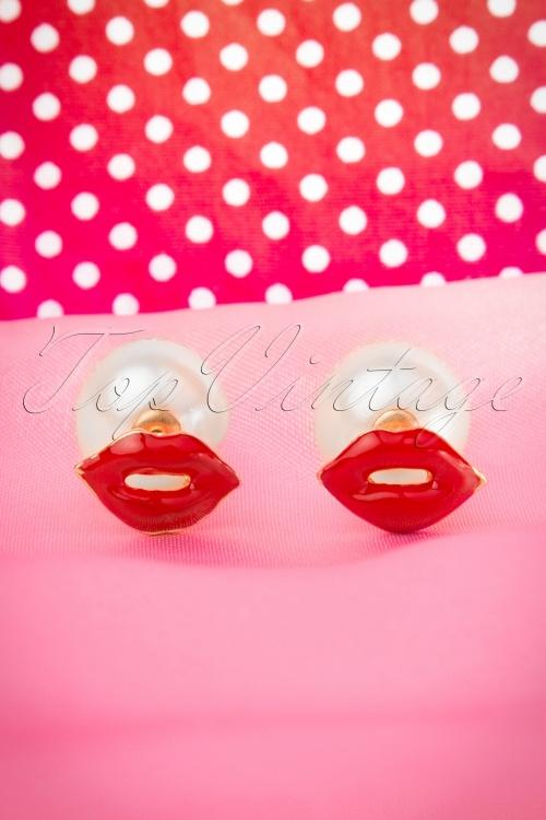 Lola Lips Studs in pink white Earrings 330 20 16000 06122015 06W