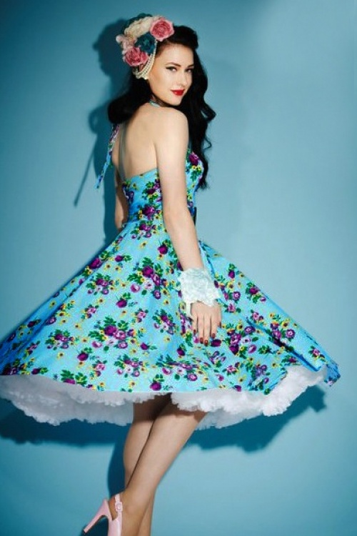 Vixen 50s Blue Retro Halter Floral Swing dress 102 39 10974 1