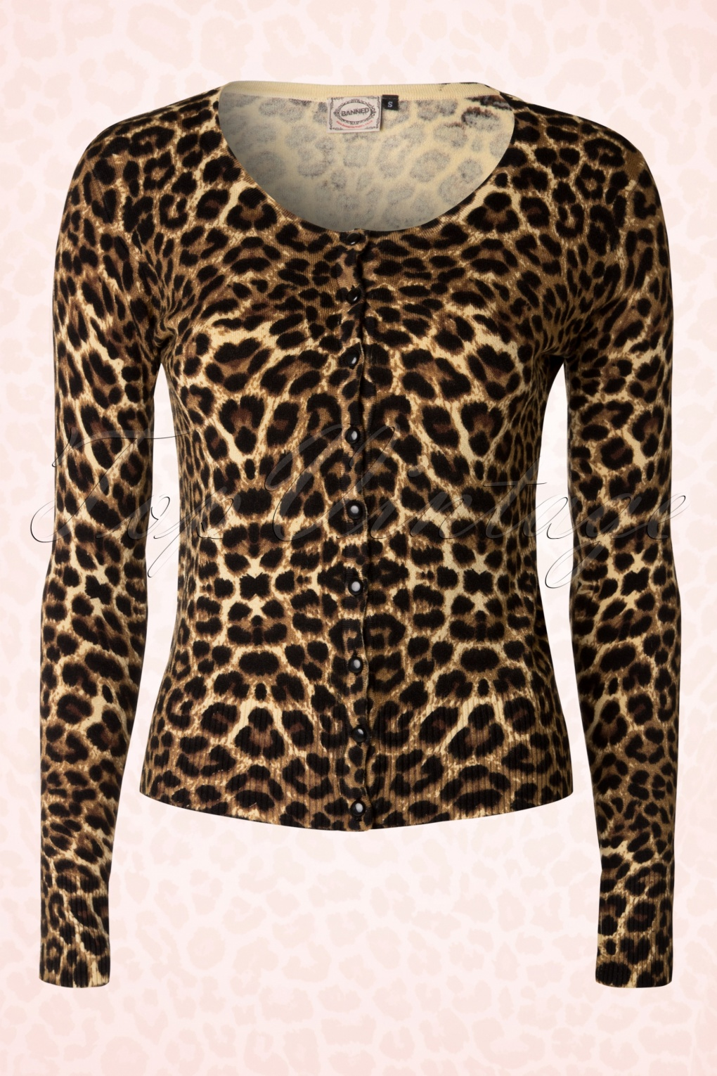 50s Crazy Love Cardigan with Leopard Print