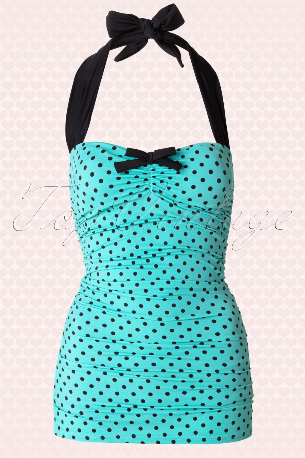 Vintage Inspired Retro Swimsuits 50s Rogues Polkadots Onepiece Swimsuit in Vintage Blue £38.46 AT vintagedancer.com