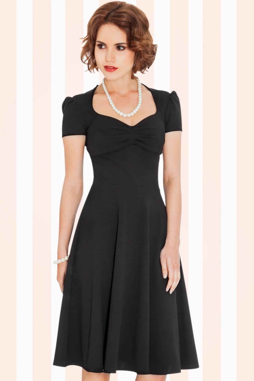 50s grace swing dress in black. Black Bedroom Furniture Sets. Home Design Ideas