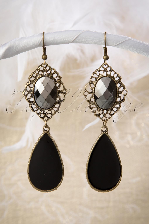 20s Anna Black Drop Earrings