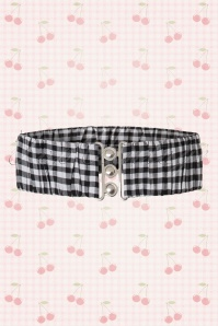 50s Curvy Retro Gingham Belt in Black and White