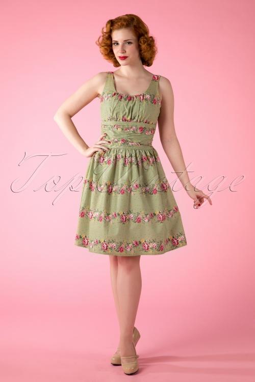Vixen 50s Heavenly Floral Dress Green 105 49 12122 20150418 0007W