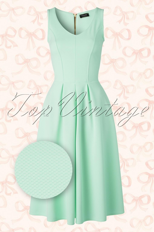 Verrassend 50s Malibu Fit and Flare Dress in Mint VV-19