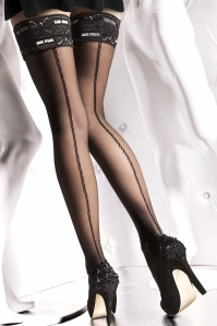 Fiorella Melita Patterned Hold Ups in Black