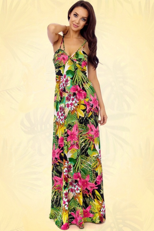 Bloemen Maxi Jurk.60s Tropical Garden Multi Strap Maxi Dress