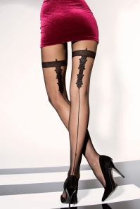 Sarina Patterned Tights in Black
