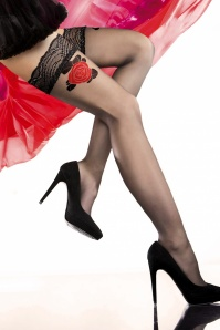 Ozana Red Rose Hold Ups in Black