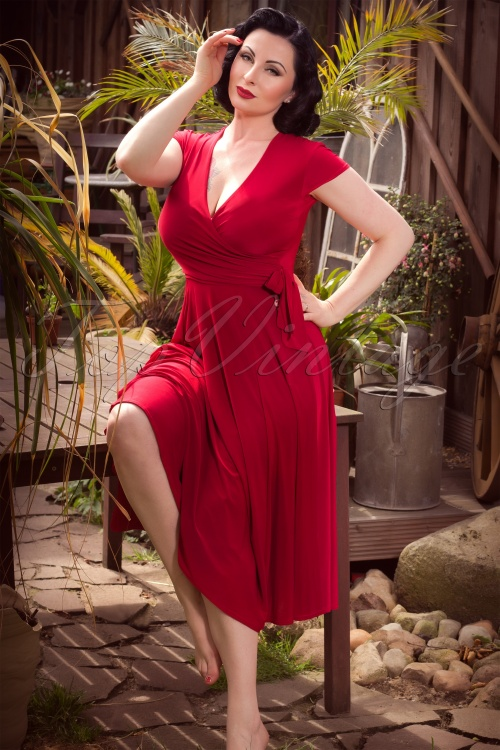 Vintage Chic Slinky Cross Red Dress 15822 1W