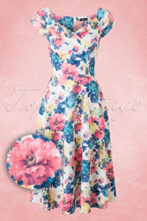50s loretta floral swing dress in white vintage chic blue pink flower dress 102 59 16015 20150706 010w1 mightylinksfo