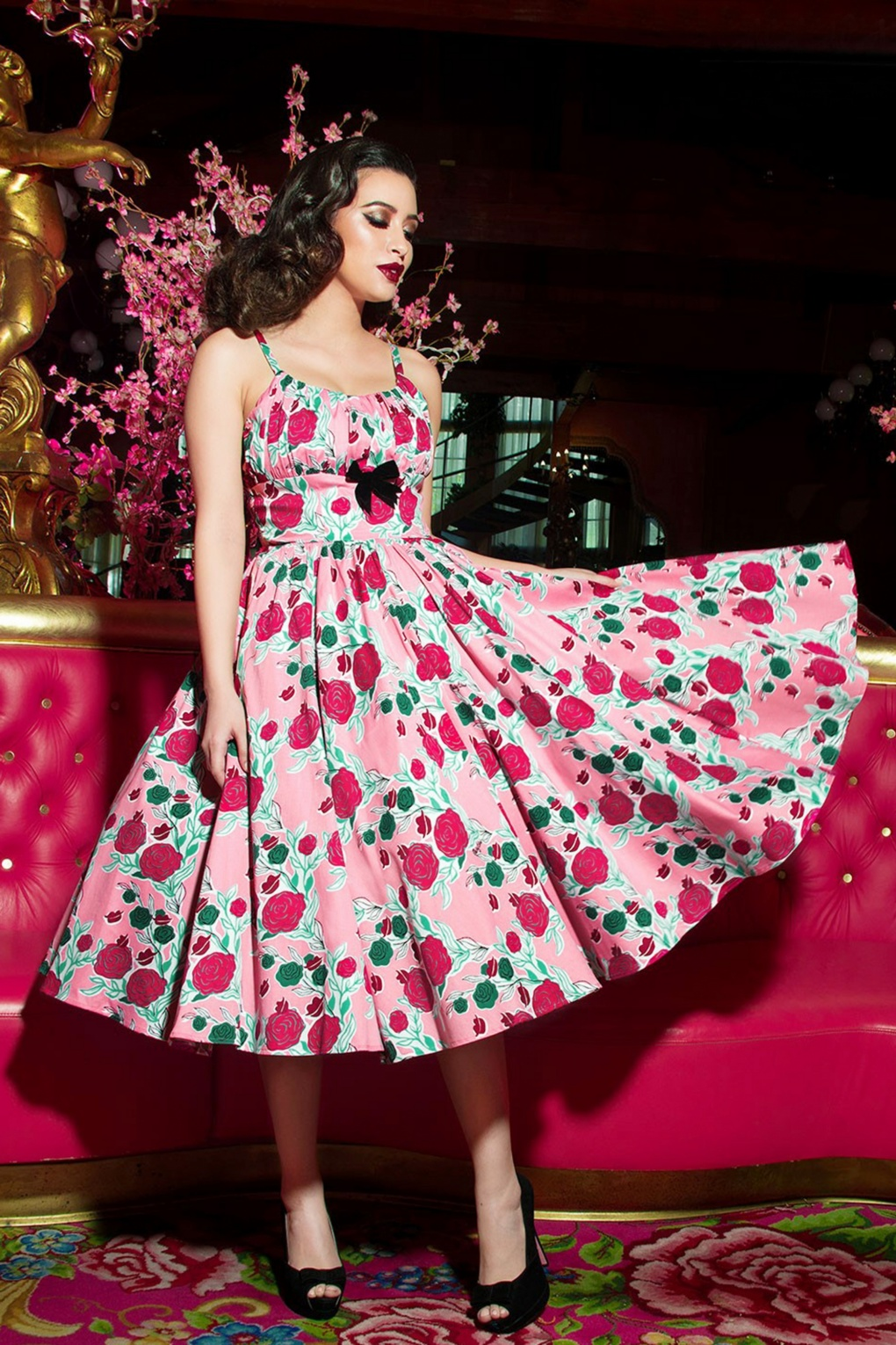50s Ella Dress in Pink with Mary Blair Roses and Lips