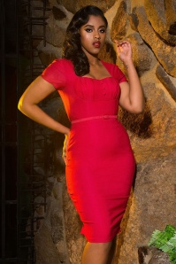 Pinup Couture  Charlotte Red Pencil Dress 100 20 16088 1