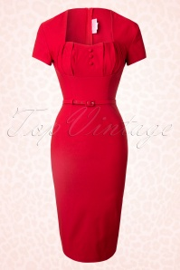 40s Charlotte Pencil Dress in Red