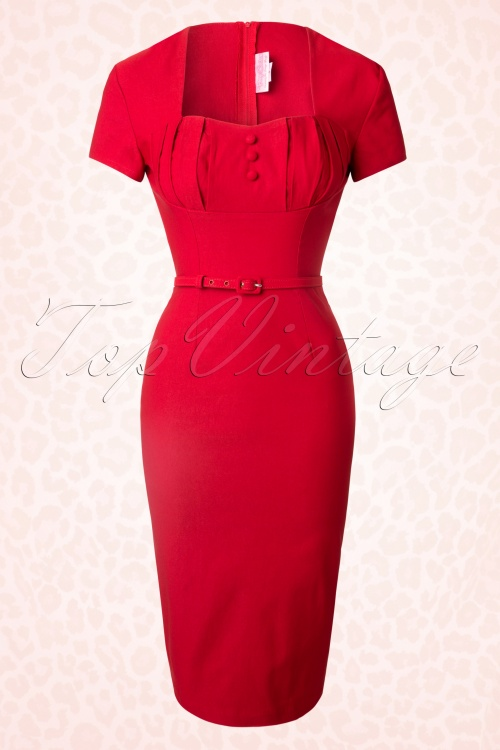 Pinup Couture  Charlotte Red Pencil Dress 100 20 16088 20150708 0011W