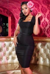 40s Charlotte Pencil Dress in Black