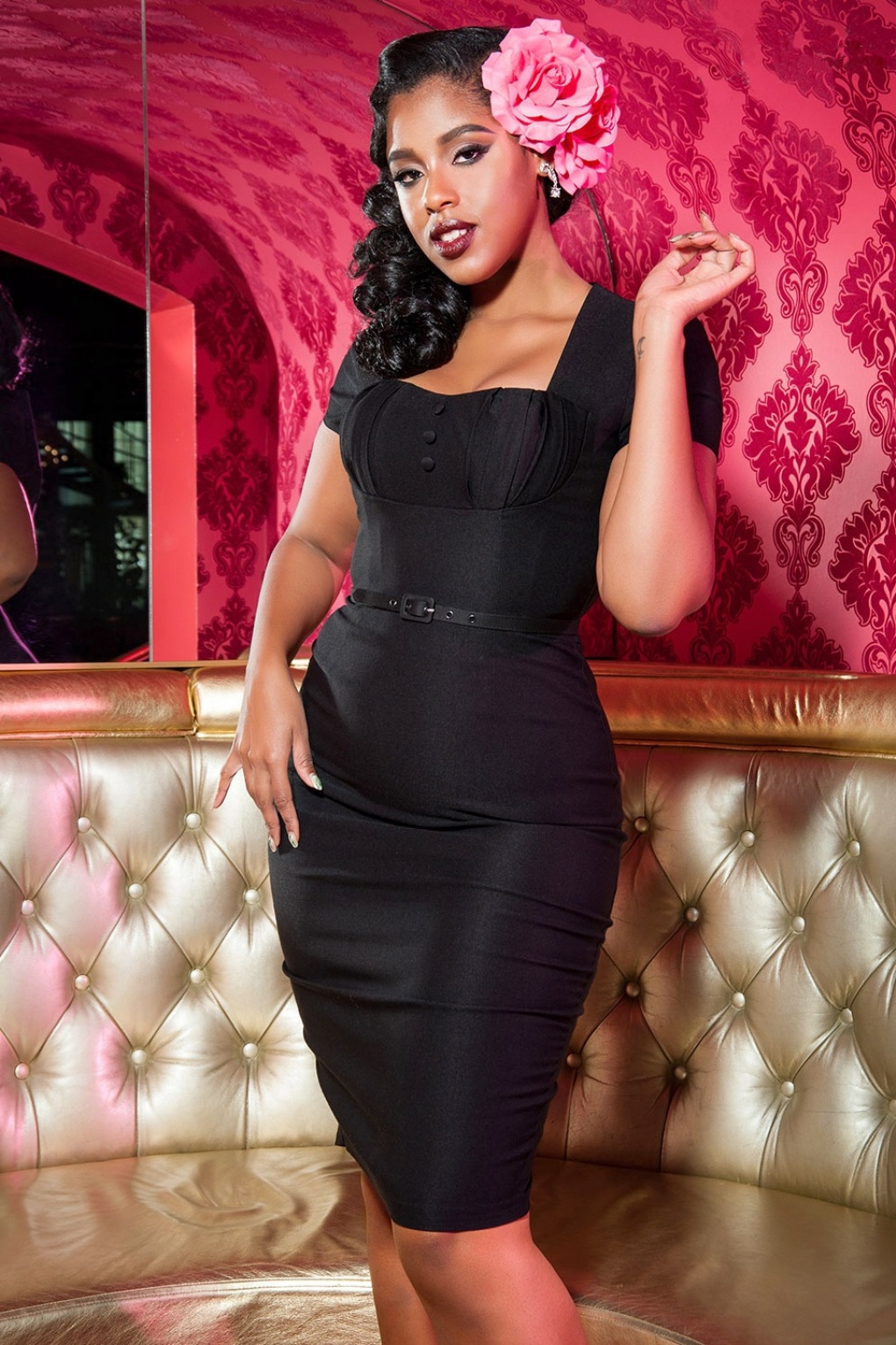 1940s Pinup Dresses for Sale 40s Charlotte Pencil Dress in Black £116.39 AT vintagedancer.com