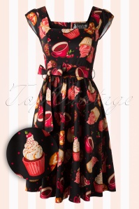 50s Cupcake Swing Dress in Black
