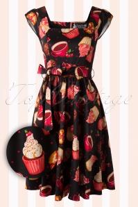 50s Cupcake Swing Dress in Black