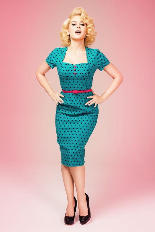 40s Charlotte Pencil Dress in Jade with Black Polkadots